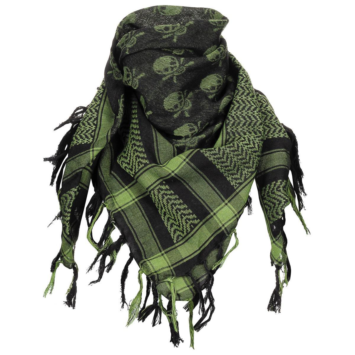 Shemagh zelená/černá s lebkami