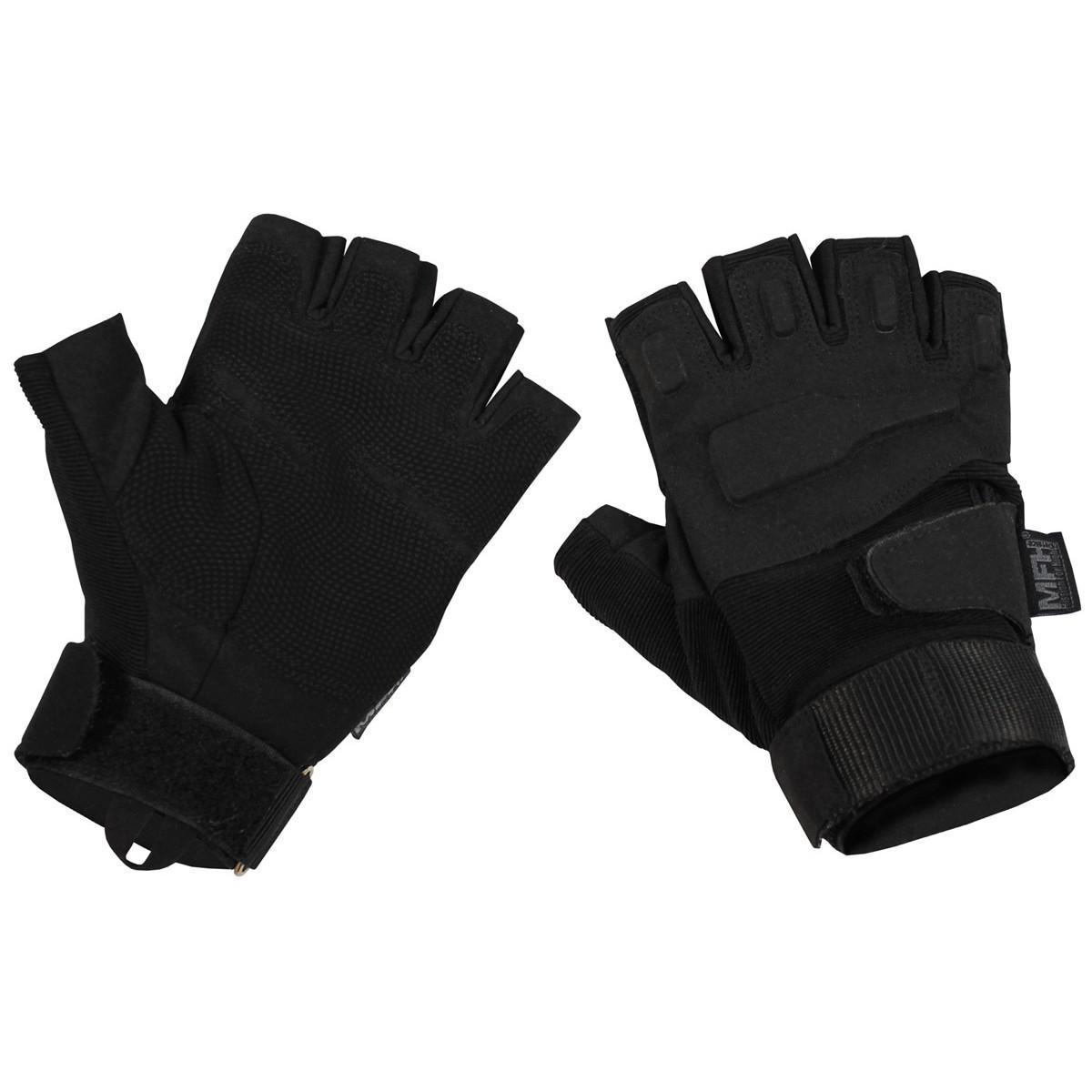 Taktické rukavice bezprsté černé